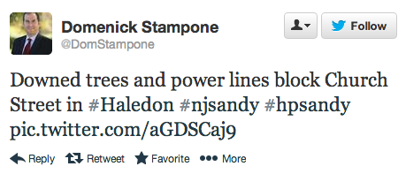 This tweet from Hurricane Sandy contains valuable information for first responders.