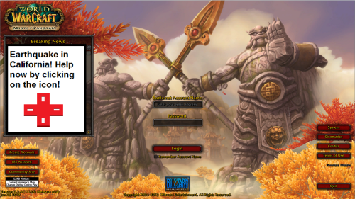 A message like this would greet you upon logging in. (Screenshot is from World of Warcraft and has been altered)